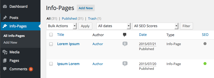 Wordpress CMS: eigene Seiten-Typen definieren