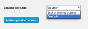 Sprache Auswahl WordPress Administrationsbereich