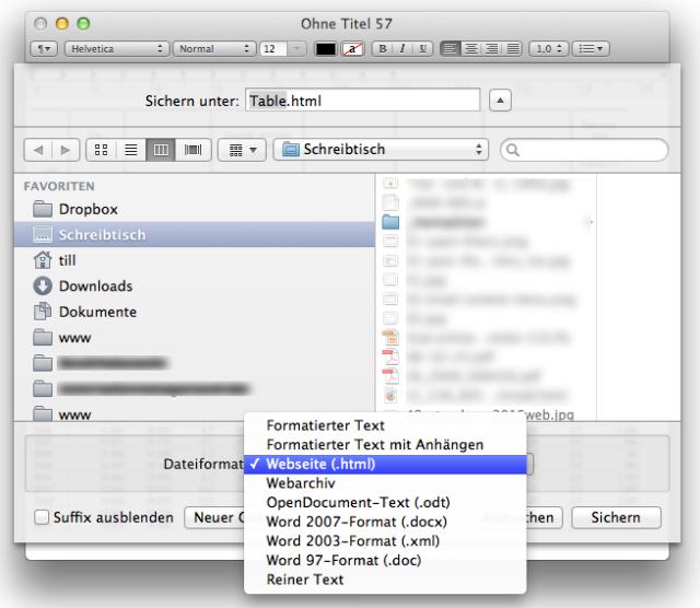 Apple Numbers Tabelle HTML kopieren WordPress CMS