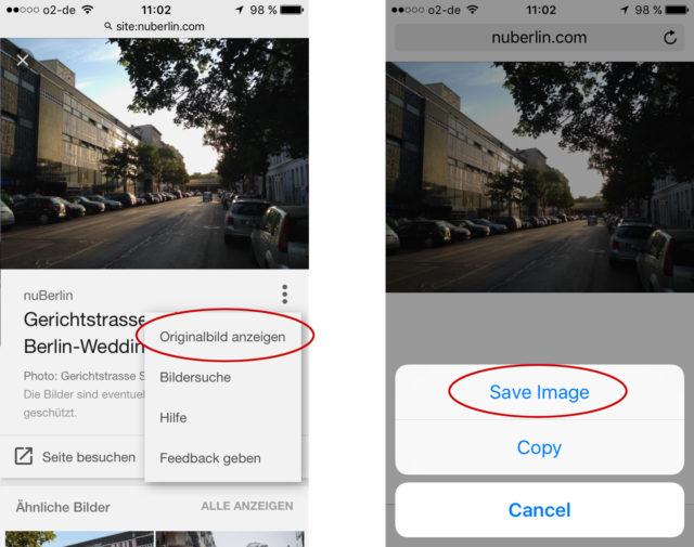 Bilder aus der Bildersuche auf dem iPhone speichern